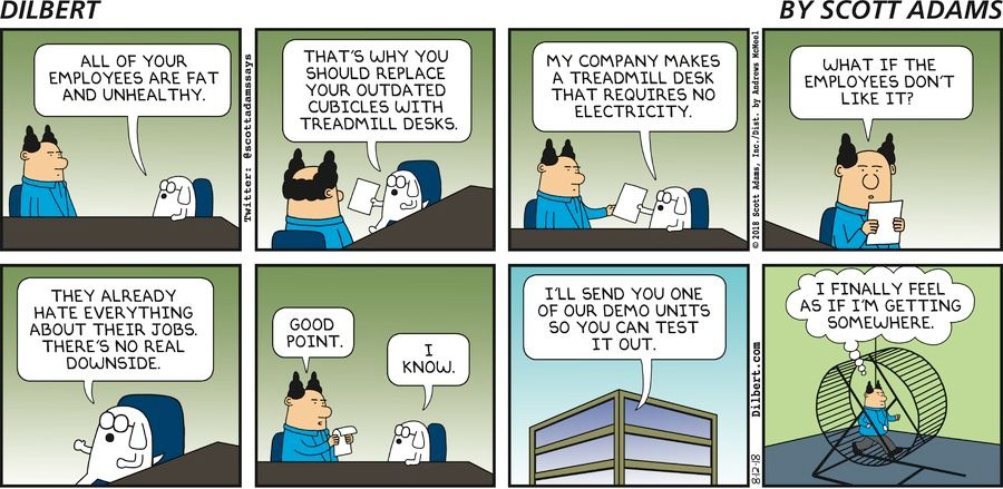 dilbert  treadmills and cubicles